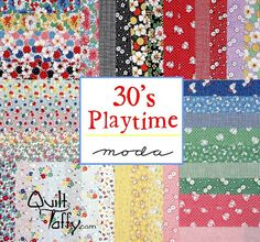 30's Playtime Jelly Roll Strips  Moda Fabrics by by quilttaffy, $29.95
