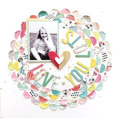 Paige Evans Taylor Half Circle Punch Technique and the Take Me Away papers & Fancy Free Scrapbook Paper Crafts, Scrapbook Pages, Project Life Scrapbook, Baby Journal, Circle Punch, Layout Inspiration, Craft Party, Scrapbooking Layouts, Scrapbooks