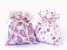 the Summer Dreams - Gift Bag - Drawstring Bag - Pouch - Purple Grey White Favors - Cotton Bags with Lace - Handmade Wedding Bags for Guests