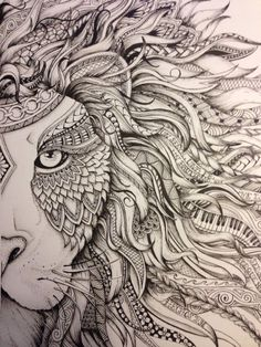 Discover thousands of images about Lion zentangle Animal Drawings, Art Drawings, Pinterest Tattoo Ideas, Lion Drawing, Mandalas Drawing, Lion Art, Zentangle Patterns, Zentangles, Colouring Pages