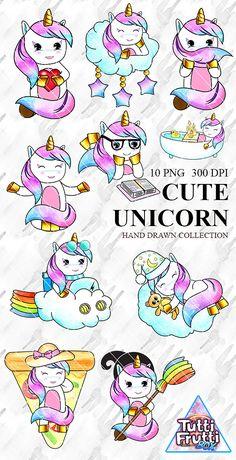 Cute Unicorn Clipart Watercolor Clip Art Unicorns Sticker Cute Animal Illustraration Little Horse Party Baby Kids Party DIY Invitation