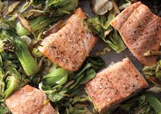 Wasabi Salmon with Bok Choy, Green Cabbage, and Shiitakes by Rozanne Gold, bonappetit #Salmon #Wasabi