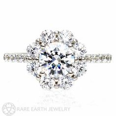 Diamond Engagement Ring GIA Certified Cluster Flower Diamond Halo Conflict Free Engagement in 14K or 18K Gold on Etsy, $13,787.42 AUD