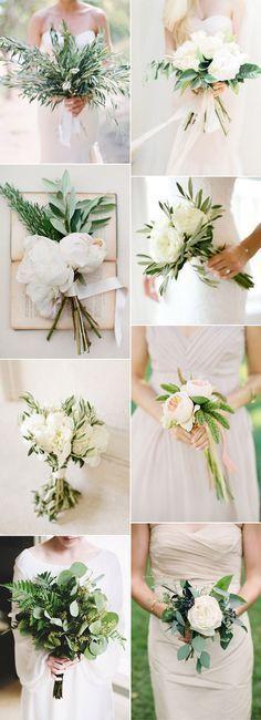 easy DIY simple botanical greenery wedding bouquets for minimalism weddings