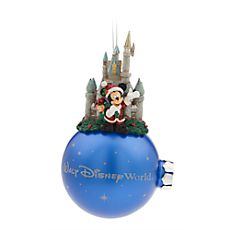 [Sparkle castle]Cinderella Castle sparkles behind Santa Mickey who prepares to deliver a sack full of happiness at Walt Disney World. The head of Duffy the Disney Bear peers out from Santa's bag for this detailed figural ornament on satin finish ball. Mickey Mouse Ornaments, Disney Christmas Ornaments, Hallmark Ornaments, Christmas Holidays, Christmas Bulbs, Christmas Stuff, Christmas Ideas, Merry Christmas, Disney Day