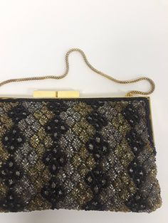 1950s Bag   50s Beaded Evening Bag   Gold Black Silver Metallic Sparkle  Party Purse Walberg c9cc9703b9365
