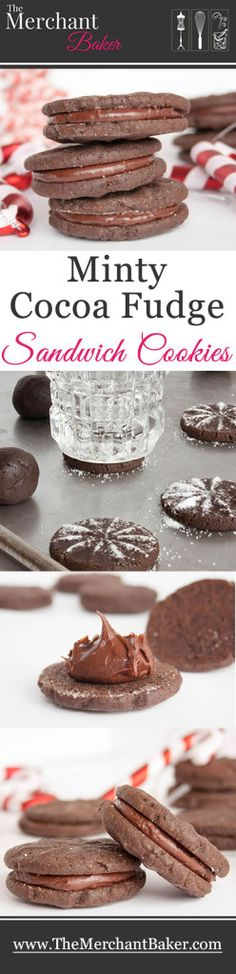 Minty Cocoa Fudge Sandwich Cookies. A tender chocolate cookie filled with a creamy, rich and minty fudge .