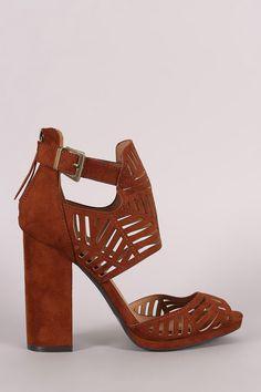 Qupid Perforated Ankle Cuff Peep Toe Chunky Heel
