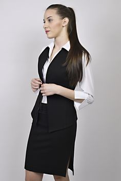 business look, white shirt, waiscoat, black waistcoat, shirt, black shirt, management, reception Black Waistcoat, Business Look, Peplum Dress, Reception, Management, Shirts, Dresses, Design, Style