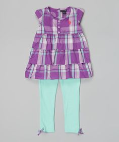 Look what I found on #zulily! Purple Plaid Top & Frozen Aqua Leggings - Infant, Toddler & Girls by U.S. Polo Assn. #zulilyfinds