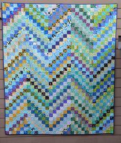 Quilt it: bargello blues.  Free pattern on Bonnie Hunter's Quiltville website:  http://quiltville.blogspot.com/2005/06/scrappy-bargello.html