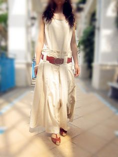 beige linen dress woman fashion long dress