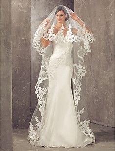 One-tier Cathedral Wedding Veil With Applique – USD $ 79.99