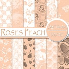 """Flower digital paper pack """"Roses Peach"""" with seamless patterns of watercolor roses, leaves and dots in peach, white and black.  Perfect for scrapbooking, making cards, invitations, collages, crafts, web graphics, and so much more. Floral digital paper pack by DigiTalesArt."""