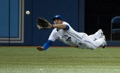 Kevin Pillar may have gone at the plate in his first (MLB) game with the Toronto Blue Jays, but he more than made up for it with a spectacular catch in left field. Sports Baseball, Baseball Players, Mlb Players, Baseball Games, Softball, Hockey, Baseball Toronto, Kevin Pillar, Sports Head