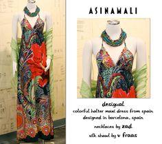 Desigual dress, Zad necklace, and Fraas silk shawl