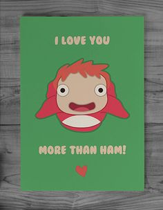Studio Ghibli Ponyo Greeting Card  Love this!