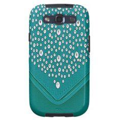 Turquoise Diamond Bling Studs on Silk Look Samsung Galaxy Case by Artonall