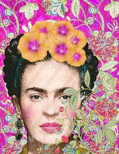ideas for flowers png natural Frida Kahlo Artwork, Kahlo Paintings, Frida Art, Fashion Wall Art, Mexican Folk Art, Digital Collage, Face Art, Illustrations, Flower Art