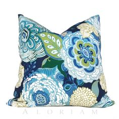 Sewn in a stunning modern designer floral print on both sides, this pillow cover will complete your decor with style! Colors include navy blue, medium and light blue with green, celery and white. LAST ONE!  Come see more floral pillows in my shop! www.etsy.com/shop/aloriam  THIS PILLOW COVER FEATURES: ☆ Designer fabric on both sides ☆ Full interior lining ☆ Invisible zipper closure hidden in seam ☆ All edges overlocked and double stitched ☆ Tapered shaping ensures a perfect contoured fit to…