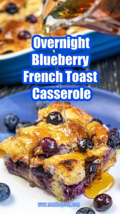 Juicy berries, crunchy walnuts plus yummy cream cheese and warmed up maple syrup make this Overnight Blueberry French Toast Casserole a fantastic breakfast or brunch dish for Thanksgiving, Christmas, and any day of the year. Can easily be doubled to accommodate a crowd! #blueberryfrenchtoastcasserole #summerberries #blueberries Breakfast Casserole French Toast, Christmas Breakfast Casserole, Blueberry French Toast Casserole, Overnight Breakfast Casserole, Blueberry Breakfast, French Toast Bake, Breakfast Bake, Fancy French Toast Recipe, Brunch Dishes