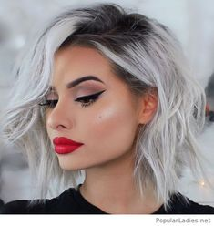 Grey short hair, cat eye and red lips