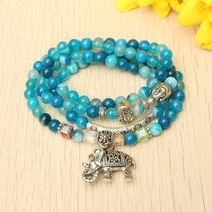 Natural Agate Crystal Vintage multi-layer Blue Tourmaline Buddha Head Bracelets