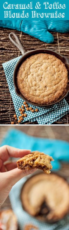 Caramel & Toffee Skillet Blonde Brownies - Krafted Koch - A decadent blonde brownie recipe made in a skillet for a perfect dessert!