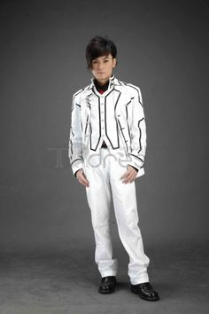 Vampire Knight fans will fall in love with this great male cosplay uniform. It features a long trench coat with turndown collar. Black lines on the white coat creates cool image. The red tie shows your passion and vigor. If you think the sleeves is too long, it can be fold to a right length. Comfortable material gives you comfortable and soft feeling. Product details:- Can be custom made.-Coming with ajacket, vest, trousers, tie, shirt.