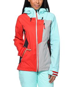 Take on the slopes with the style and tech of the Stone 10K jacket from Volcom Girls. Coming in a Red, Mint and Grey colorway, this Volcom snow jacket is designed with V-Science technology, Zip Tech jacket to pant interface and mesh lined zipper arm vents