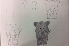 Step by step simple drawings using the alphabet, numbers and shapes
