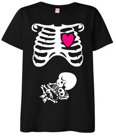 Halloween Maternity T-Shirt Costume Rib Cage and Baby Skeleton in Black / White / Hot Pink - S M L XL - Small , Medium , Large & XL