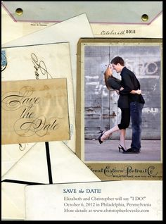Antique Collage save the date