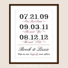 Important Dates in Your Love Story Print - So Cute
