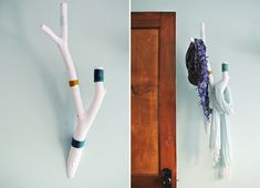 Turn a Backyard Branch into a Color Block Wall Hook