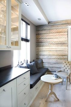 feature wall- Neptune Kitchens: Bridge Link Wall Cabinet to create extra seating Kitchen Nook, Open Plan Kitchen, Kitchen Living, New Kitchen, Cafe Interior, Kitchen Interior, Country Kitchen Inspiration, Interior Inspiration, Neptune Kitchen