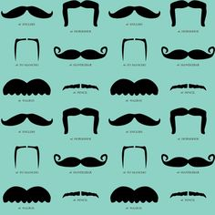 mustache gallery- blue fabric by avelis on Spoonflower - soooo many things i want to make with this!