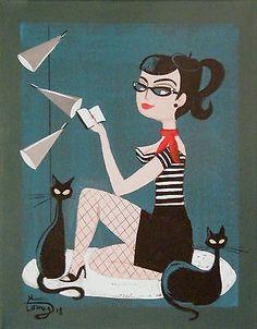 EL GATO GOMEZ PAINTING MID CENTURY MODERN PIN-UP FRENCH GIRL 1950S BEATNIK CATS - 5th village