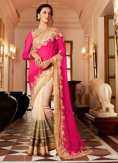 impeccable-cream-and-hot-pink-net-designer-saree-21522.jpg (800×1100)