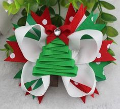 Christmas Tree Stacked Hair Bow by BigBowBoutique on Etsy, $9.99