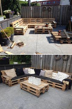 ideiasgreen: Incrível lounge reutiliza paletes reciclados. via 1001 pallets