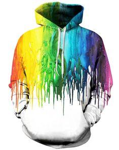 Linnhoy Unisex Printed Hooded Sweatshirt Casual Pullover Hoodie with Big Pockets Hoodie Sweatshirts, Pullover Hoodie, Sweatshirts Online, Hoody, Epic Hoodies, Fleece Hoodie, Rainbow Painting, Drip Painting, Men's T Shirts