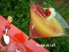 Recette autre : Gaspacho d'ananas, sorbet menthe et tartare de fraises par NUAGE DE LAIT