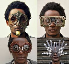 Digging through electronic refuse and found metal in Kenya's capital of Nairobi, Cyrus Kabiru refashions found materials into different wearable forms. Often these take the form of flamboyantly composed glasses, large eyewear that can often mask the entire face.  Kabiru explains that his