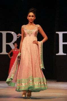 2 long women wear neeta lulla anarkali frocks