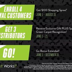 Okay folks!! We are taking the month of June to a #WholeNothaLevel with these 3 crazy offers! My CEO is AWESOME!!! He is TRULY trying to help us all be debt free!!! 1 If you join my team between now and August 31 AND you enroll 4 new Loyal Customers in your first 30 days you will receive a $100 SHOPPING SPREE!  2 Until June 21 if you enroll 3 new Distributors on your team YOU will receive an exclusive gift PLUS special recognition at this years #ItWorksGC! Not attending Green Carpet? No…