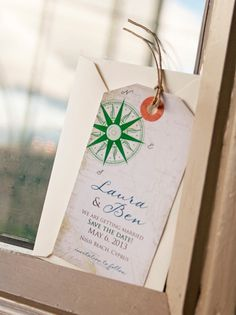 Save the Date - Vintage Compass Rose Luggage Tag Magnet for the Destination Wedding