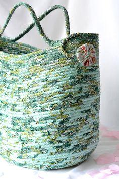 Green Tote Bag Handmade Coiled Fabric Basket Green Moses