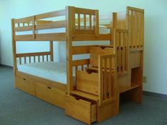Look at all the mazing space saving features on this twin over twin bunk beds with storage steps and under bottom bunk drawers. Steps can be set at either end of bunk bed. ♥
