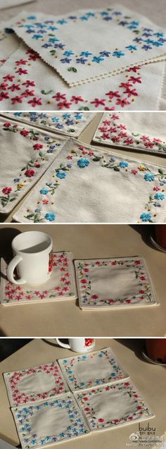 flower embroidery. cupmat